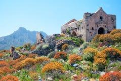 Rovine della chiesa della fortezza di Gramvousa Immagini Stock