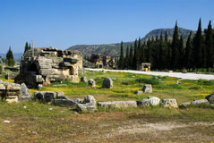 Rovine della città antica di Hierapolis Immagini Stock Libere da Diritti