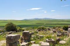 Rovine della città antica di Volubilis vicino a Meknes nel Marocco Immagine Stock