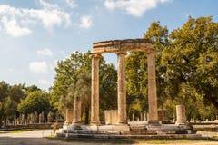 Rovine della città di Olimpia, il Peloponneso del greco antico Fotografia Stock Libera da Diritti