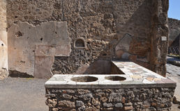 Rovine della città romana antica di Pompei Immagini Stock Libere da Diritti