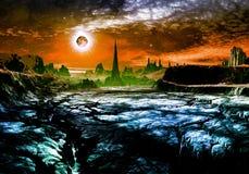Rovine della città straniera sul pianeta lontano Immagini Stock