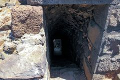 Rovine della fortezza del XII secolo del Hospitallers - il Belvoir - Jordan Star - in Jordan Star National Park vicino alla città Immagine Stock