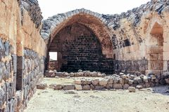 Rovine della fortezza del XII secolo del Hospitallers - il Belvoir - Jordan Star - in Jordan Star National Park vicino alla città Fotografia Stock