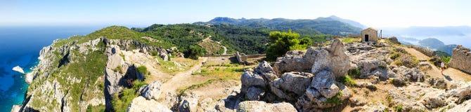 Rovine della fortezza di Angelokastro immagini stock