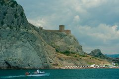 Rovine della fortezza genovese Fotografie Stock Libere da Diritti