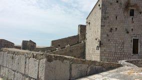 Rovine della parete di pietra della fortezza di Spanjola, Hvar Croazia Fotografia Stock Libera da Diritti