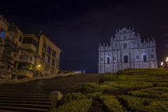 Rovine della st Paul Church alla notte a Macao Fotografia Stock Libera da Diritti
