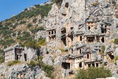 Rovine della tomba della roccia di Myra a Demre immagine stock libera da diritti