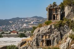 Rovine della tomba della roccia di Myra a Demre immagini stock