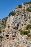 Rovine della tomba della roccia di Myra a Demre fotografia stock