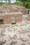 Rovine dello stagno termico romano con il mosaico Immagine Stock