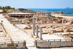 Rovine di Cesarea antica. L'Israele. fotografia stock