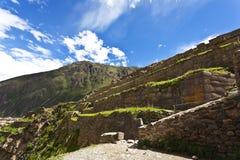 Rovine di inca di Ollantaytambo - valle sacra - il Perù Immagini Stock