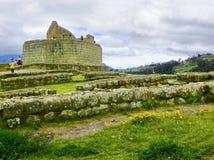 Rovine di Ingapirca, vista al tempio del Sun, provincia di Canar, Ecuador fotografie stock libere da diritti