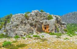 Rovine di Lycian in montagne di Toro, Ucagiz, Kekova, Turchia fotografia stock libera da diritti