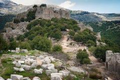 Rovine di Nimrod Fortress Mivtzar Nimrod, una fortezza medievale immagini stock libere da diritti