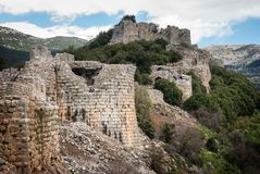 Rovine di Nimrod Fortress Mivtzar Nimrod, una fortezza medievale fotografia stock