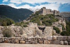 Rovine di Nimrod Fortress Mivtzar Nimrod, una fortezza medievale Fotografie Stock