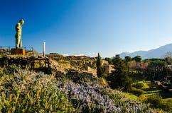 Rovine di pietra di vecchia città d'annata di Pompei, Italia immagine stock libera da diritti