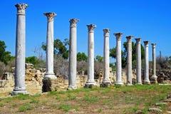 Rovine di Romani della città dei salami, vicino a Famagosta, il Cipro del Nord Immagine Stock
