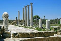 Rovine di Romani della città dei salami, vicino a Famagosta, il Cipro del Nord Fotografia Stock