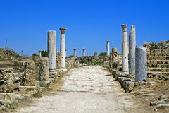 Rovine di Romani della città dei salami, vicino a Famagosta, il Cipro del Nord Immagini Stock Libere da Diritti