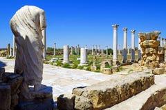 Rovine di Romani della città dei salami, vicino a Famagosta, il Cipro del Nord Fotografie Stock
