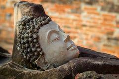 Rovine di una testa di immagine di Buddha al tempio di Phutthaisawan nel parco storico di Ayuthaya, sito del patrimonio mondiale  Fotografia Stock Libera da Diritti