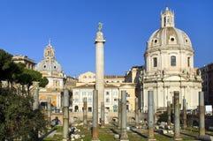 Rovine di una tribuna di Trajan, Roma Fotografie Stock