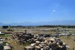 Rovine di vecchia città di Hierapolis Fotografia Stock