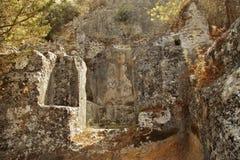 Rovine di vecchia città vicino a Fethiye, Turchia Immagini Stock