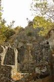 Rovine di vecchia città vicino a Fethiye, Turchia Fotografia Stock