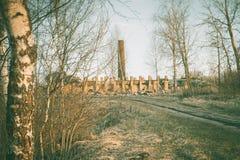 Rovine di vecchia grande fabbrica rovinata Immagini Stock