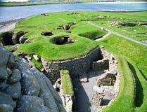 Rovine di Viking, Jarslhof, Shetland, Scozia Fotografia Stock