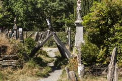Rovine e cimitero di Glendalough Fotografia Stock