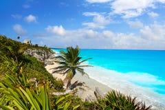 Rovine maya della città di Tulum in maya di Riviera immagini stock libere da diritti