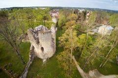 Rovine medievali del castello, Cesis, Lettonia Fotografie Stock