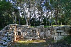 Rovine medioevali in Kaukana vicino a Ragusa Fotografia Stock