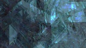 Rovine mobili astratte della città mobile che si chiudono sul paesaggio geometrico di architettura di viaggio della macchina futu illustrazione di stock