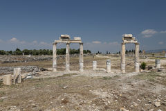 Rovine nella città antica di Hierapolis, Turchia Fotografia Stock