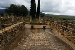 Rovine romane antiche e mosaici di Volubils fotografia stock