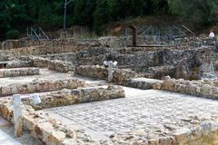Rovine romane antiche in Spagna, primo piano fotografia stock