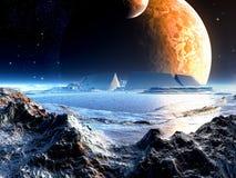 Rovine straniere dell'arena sotto due lune Immagini Stock