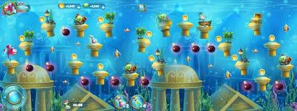 Rovine subacquee con un insieme degli elementi royalty illustrazione gratis