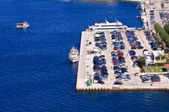 Rovini ferryboat harbour. Aerial View from Croatia Royalty Free Stock Images