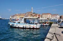 Rovinj港口,克罗地亚 免版税库存图片