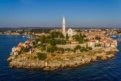 Rovinj,克罗地亚空中射击  免版税库存图片