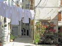 Rovinj, οδοί με την ξήρανση του πλυμένου κλωστοϋφαντουργικού προϊόντος, 8 Στοκ φωτογραφία με δικαίωμα ελεύθερης χρήσης