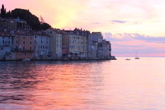 Rovinj bij zonsondergang Kroatië Stock Foto's